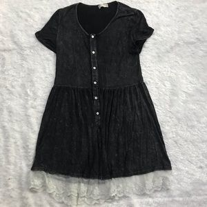 Altar'd State Black T-Shirt Dress Lace Hem Medium